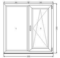 Окно металлопластик KBE 70 1000x1000