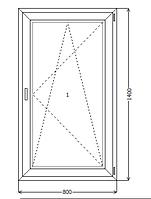 Окно металлопластик KBE 88 800x1400