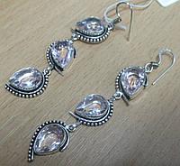 Серебряные серьги с розовым топазом  от студии LadyStyle.Biz