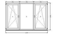 Окно металлопластик KBE 88 2100x1400