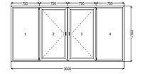 Окно металлопластик KBE 88 3000x1500