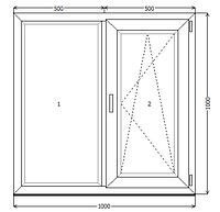 Окно металлопластик KBE 88 1000x1000