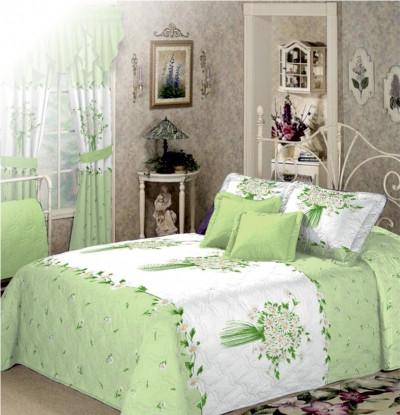 Евро комплект постельного белья Зеленый Букет
