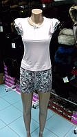 Пижама женская футболка с шортиками (состав ткани: бамбук, хлопок)