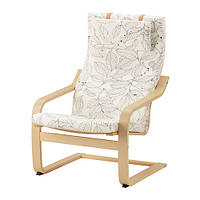 """IKEA """"ПОЭНГ"""" Кресло, березовый шпон, Висланда черный/белый"""