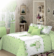 Семейный комплект постельного белья Зеленый Букет