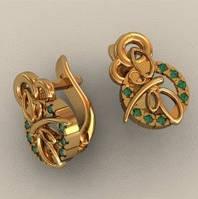 Необычные золотые серьги 585* пробы с яркими Фианитами