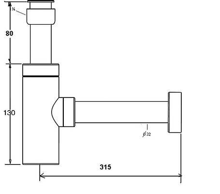 Сифон для умывальника декоративный без слива ТМ McAlpine LUX СА32MINI CB, фото 2