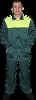 Костюм рабочий тк. грета зеленый с лимонной кокеткой