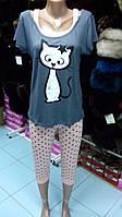 Пижама с бриджами (футболка и капри, футболка с имитацией майки)