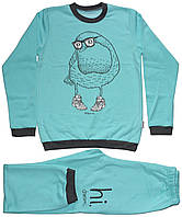 Пижама детская бирюзовая, с птичкой, теплая, рост 134 см, 140 см, Robinzone