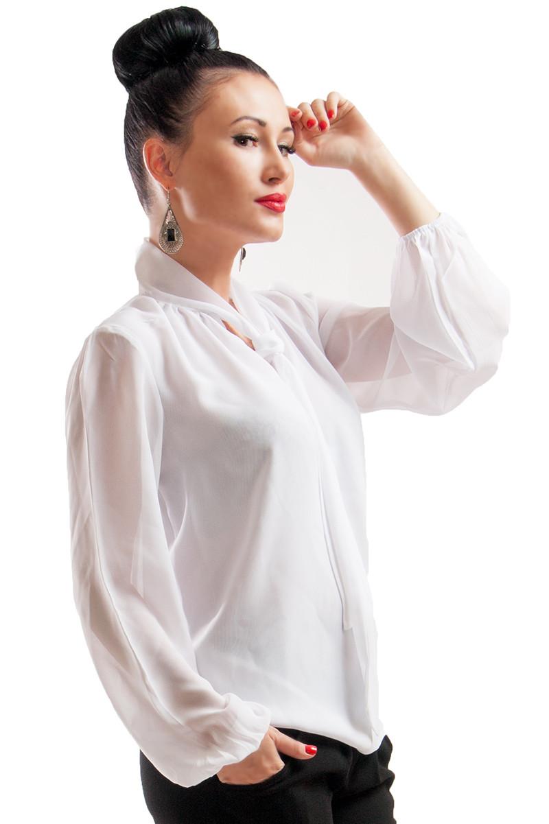 Белая женская блуза для офиса Piano