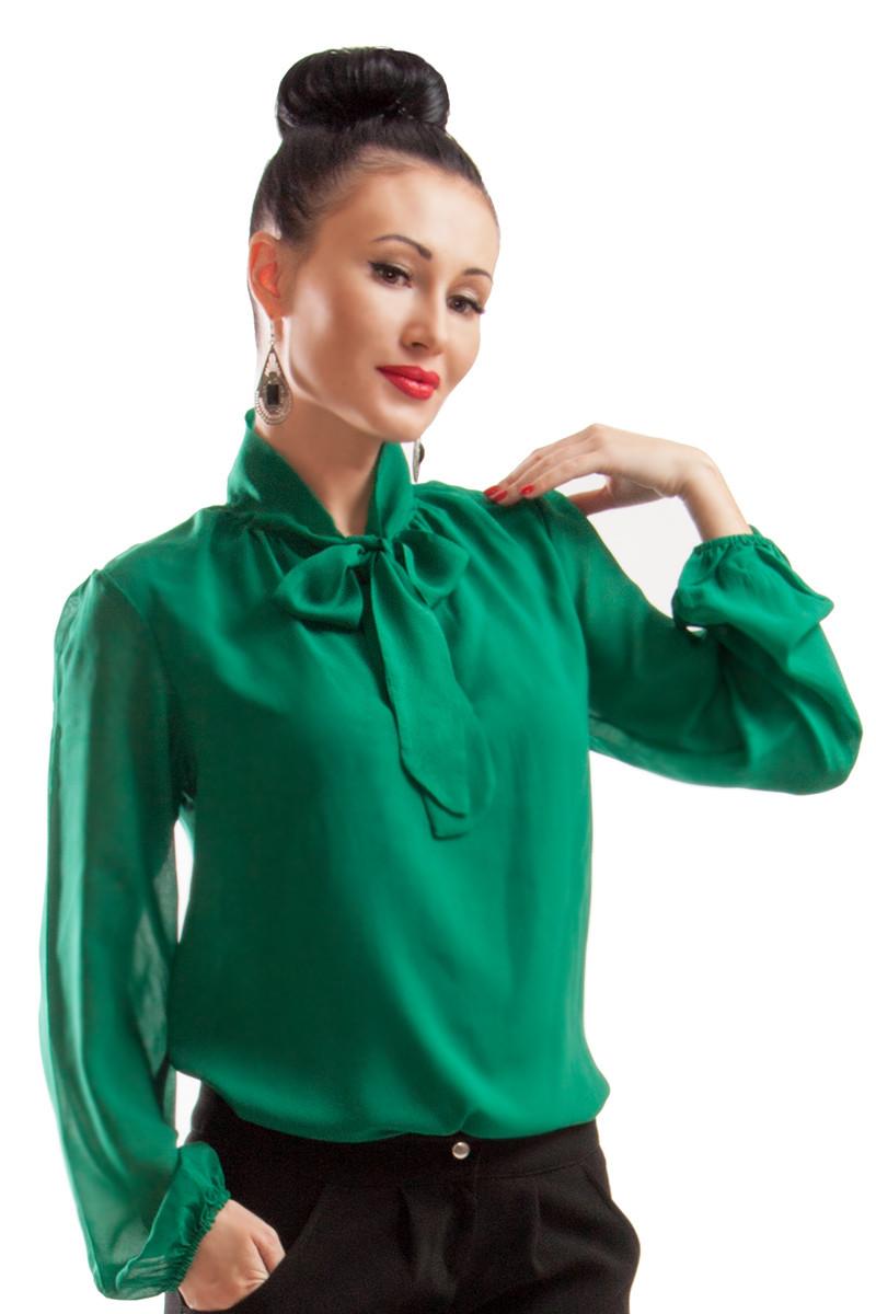 Женские шифоновые  блузки *PIANO* изумрудного цвета