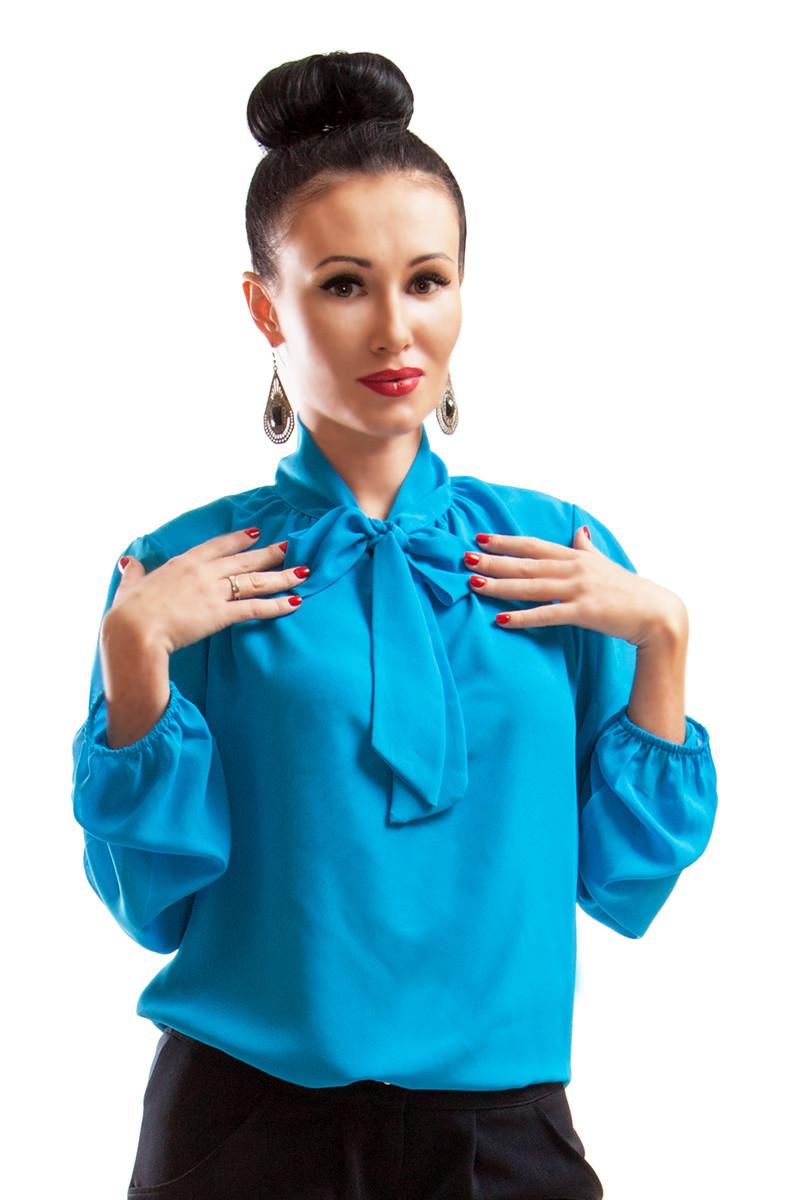 Женские блузки для офиса *PIANO* голубого цвета