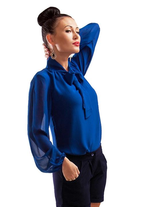 Синяя шифоновая блуза *PIANO* оптом