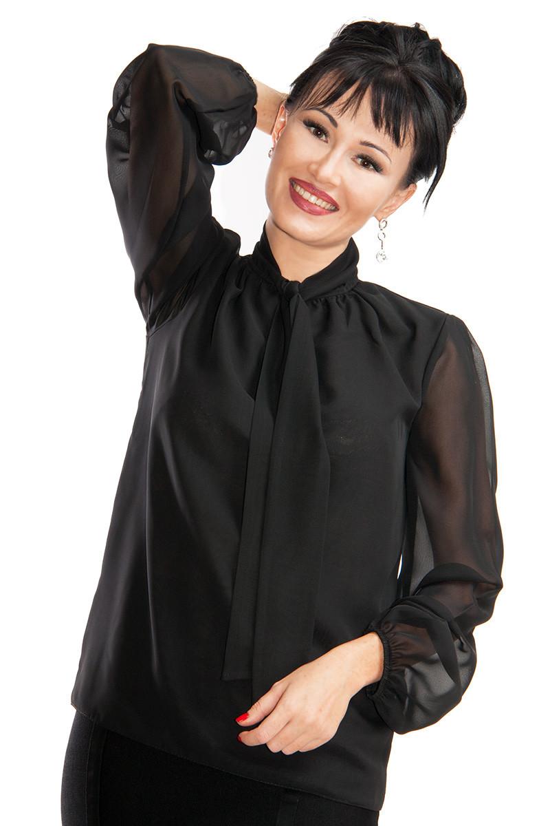 2fd66a436a4 Черная шифоновая блузка Piano до р.56 - LOOK BUY в Одессе