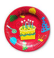 """Тарелки праздничные бумажные одноразовые """" Тортик """". 18см.10 шт. Посуда одноразовая детская"""