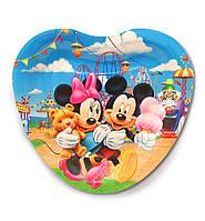 """Тарелки  бумажные в форме сердца """" Микки и Мини с мороженным """". 18см.10 шт. Посуда одноразовая детская"""