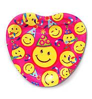 """Тарелки  бумажные в форме сердца """" Смайлики """". 18см.10 шт. Посуда одноразовая детская"""