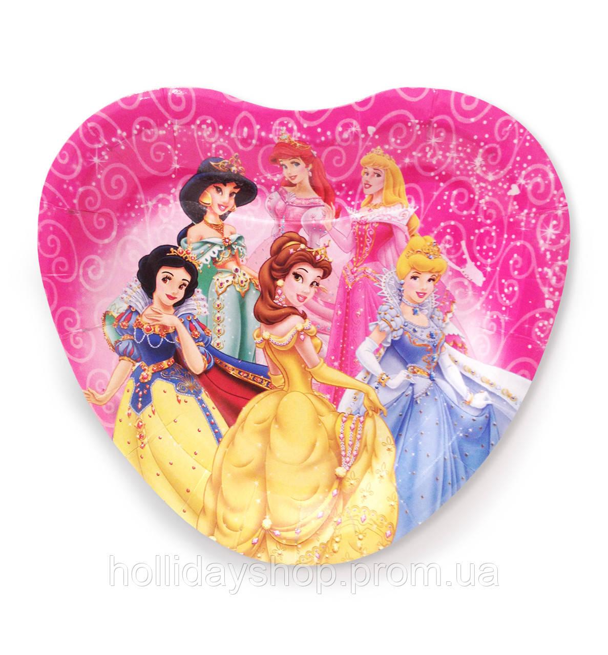"""Тарелки  бумажные в форме сердца """" Принцессы """". 18см.10 шт. Посуда одноразовая детская"""