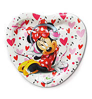 """Тарелки  бумажные в форме сердца """" Мини Маус"""". 18см.10 шт. Посуда одноразовая детская"""