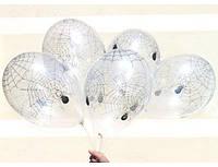 """Воздушные шарики ПАУК кристалл белый шелкография 12""""(30 см)  ТМ Gemar"""