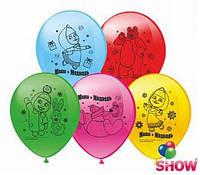 """Воздушные шарики Мультяшки """" Маша и Медведь """" шелкография микс 12"""" (30 см)  ТМ Show"""