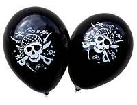 """Воздушные шарики ПИРАТ пастель черная шелкография 12""""(30 см)  ТМ Gemar"""