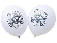 """Воздушные шарики ПИРАТ пастель белая шелкография 12""""(30 см)  ТМ Gemar"""