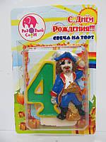 """Свеча цифра в торт """"4"""" Пират"""