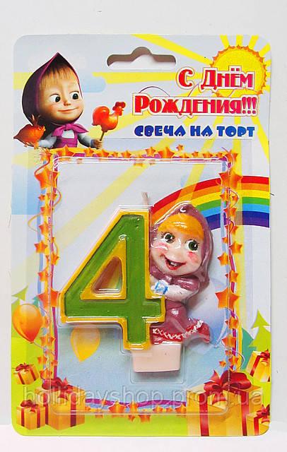 """Свеча цифра на торт """"4"""" Маша и Медведь"""