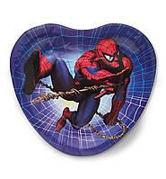 """Тарелки праздничные бумажные в форме сердца """" Человек паук """". 18 см.10 шт. Посуда одноразовая детская"""