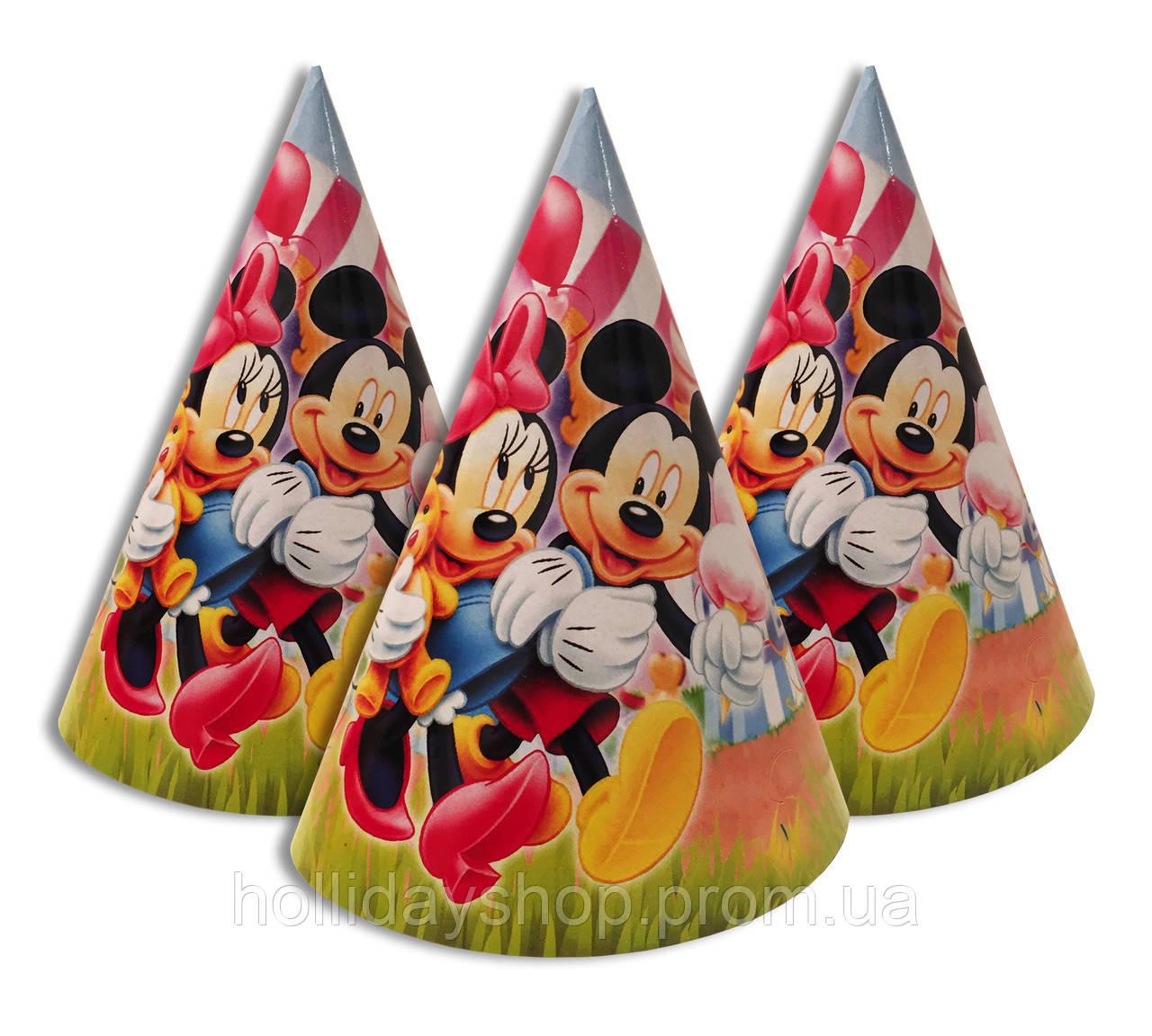 """Колпачки, колпаки праздничные, маленькие. """" Микки и Мини с мороженным  """" Карнавальные колпаки"""