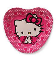 """Тарелки  бумажные в форме сердца """" Китти """". 18см.10 шт. Посуда одноразовая детская"""