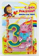 """Свеча цифра в торт """"3"""" Лунтик"""