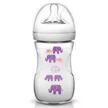 Бутылочка для кормления AVENT NATURAL стеклянная, дизайн со слоном для девочек 260 мл