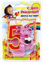 """Свеча цифра в торт """"5"""" Лунтик"""