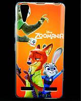 Чехол накладка для Lenovo A6000 силиконовый с рисунком, Zoomania