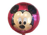 Воздушный фольгированный шар Микки на красном фоне  диаметр 45 см.