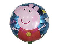 Шарик фольгированный свинка Пеппа диаметр 45 см.