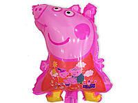 Воздушный шарик свинка Пеппа розовая 60 х 40 см. из полимерной пленки