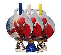 """Язычок -  гудок карнавальный """" Человек Паук """" , 6 шт. в уп."""