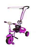 Велосипед 3-х колёсный Baby Mix с ручкой-толкателем фиолетовый