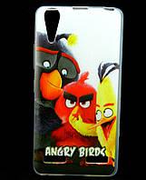 Чехол накладка для Lenovo A6010 PRO силиконовый с рисунком, Angry Birds