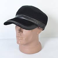 Мужская модная меховая теплая кепка на флисе с ушками - 29-538