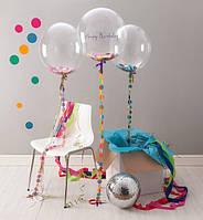 Большой прозрачный шар 40 см с конфети и кружочками