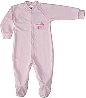 Человечек для девочки, на байке, розовый, рисунок перышко, рост 68 см, 80 см, Фламинго