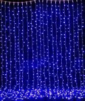 Уличная Синяя Гирлянда Свеча Штора 3х3 м 480 led - на белом каучуковом проводе