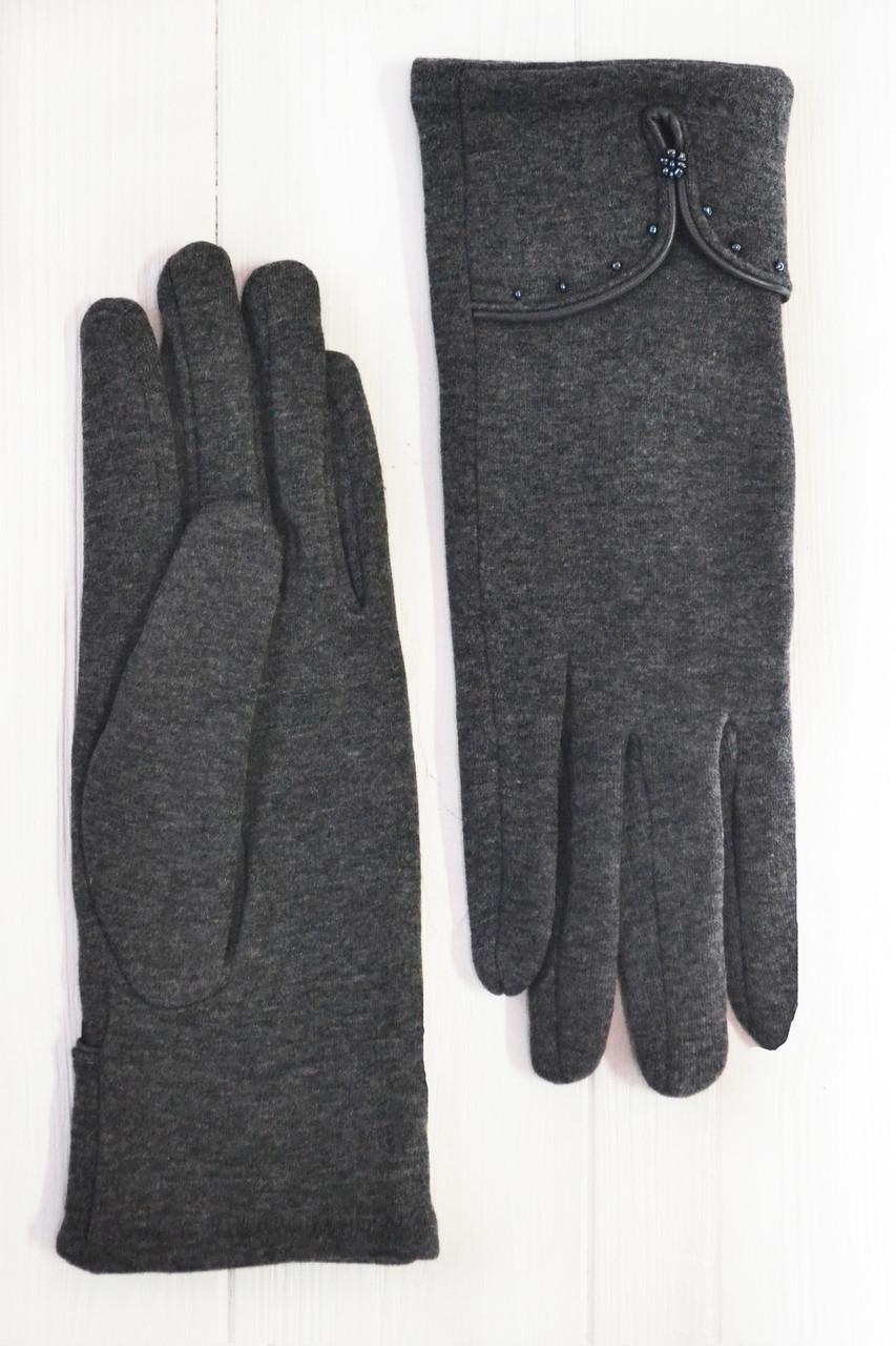 Трикотажные  темно-серые перчатки Большие
