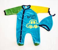Детская одежда оптом Комплект для малышей велюр YALOO оптом р.62-68-74-80см, фото 1